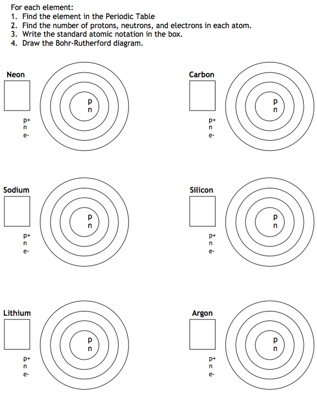 Lesson 4 the structure of the atom willowwood lessons bohr rutherford model practice pooptronica